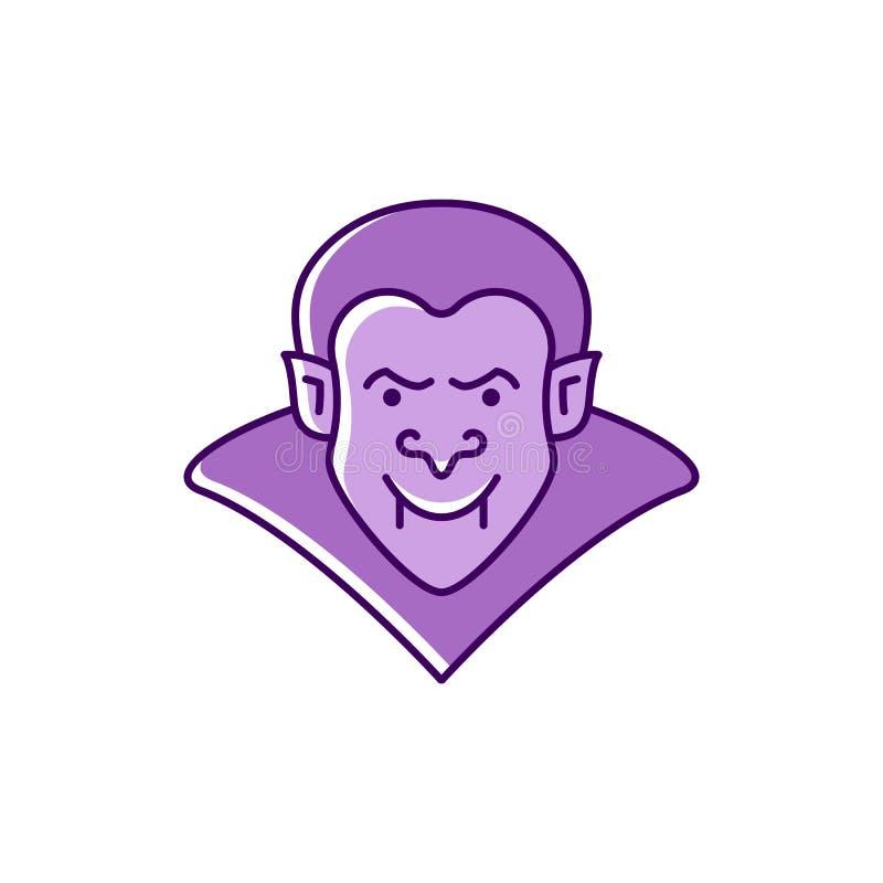 Dracula ikony wampira odznaka Kolorowa płaska Halloweenowa ikona Cienieje kreskowej sztuki projekt, Wektorowa ilustracja ilustracja wektor