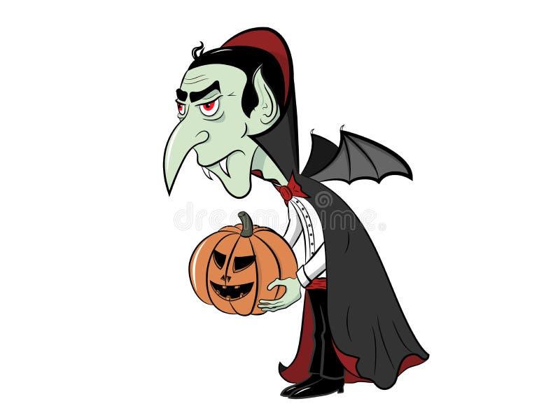 Dracula met pompoen in zijn handen royalty-vrije stock afbeelding