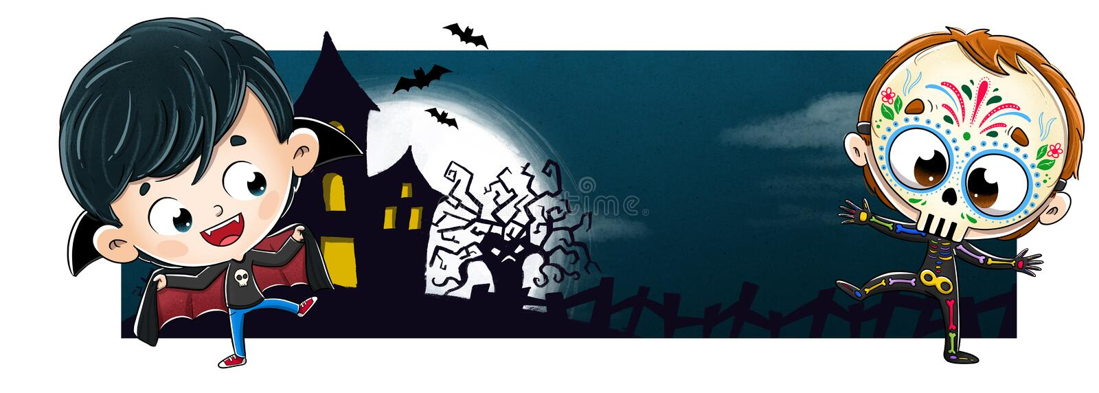 Dracula and Mexican skeleton with terror background. You can see the moon in the background and an enchanted castle. Halloween royalty free stock photography