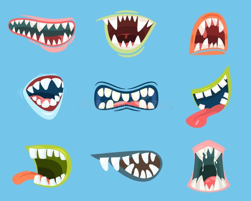 Dracula oder Monster, Vampirskarikaturmund stock abbildung
