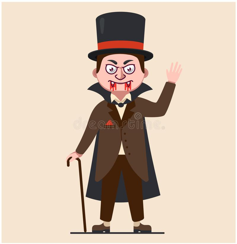 Dracula in a raincoat. 19th century vampire. character bloodsucker in hat and arrowhead. blood on the face. royalty free illustration