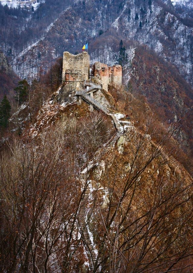 Dracula's fortress at Poienari, stock photo