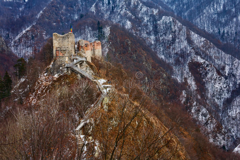 Dracula's fortress at Poienari, stock photography