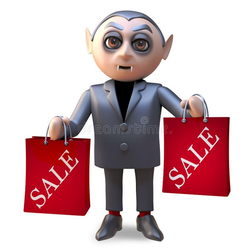 Dracula van de beeldverhaalvampier heeft sommige koopjes bij de verkoop, 3d illustratie gekocht vector illustratie