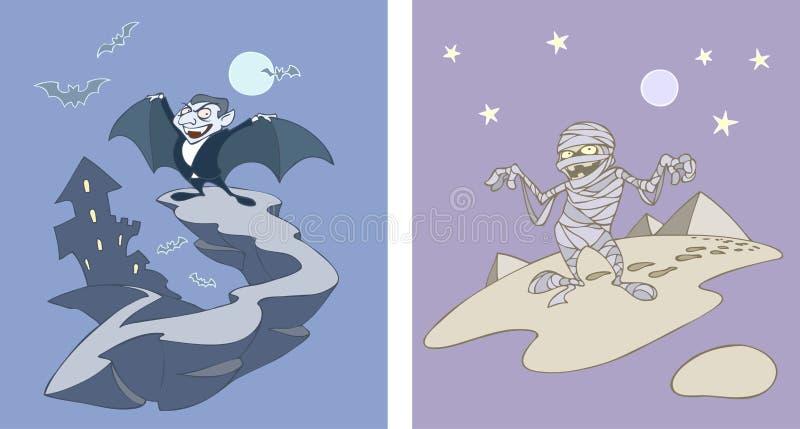 Dracula y momia stock de ilustración