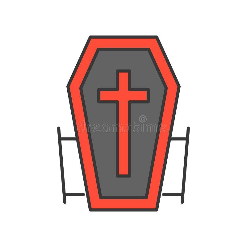 Draculadoodskist, Halloween verwant pictogram, gevuld overzichtsontwerp E-D stock illustratie