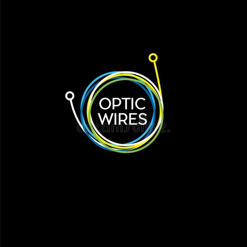 Draden, kabelembleem Streng van kabel op een donkere achtergrond Gekleurde kabel, optische vezelembleem vector illustratie