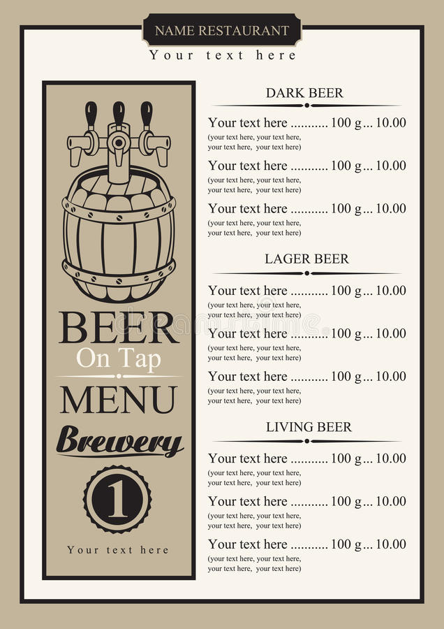 Draft Beer Menu Stock Vector Illustration Of Retro Label