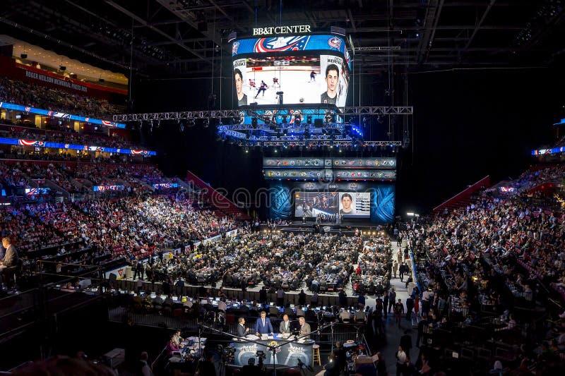 2015 draft del NHL - Zachary Werenski - Columbus Blue Jackets imágenes de archivo libres de regalías