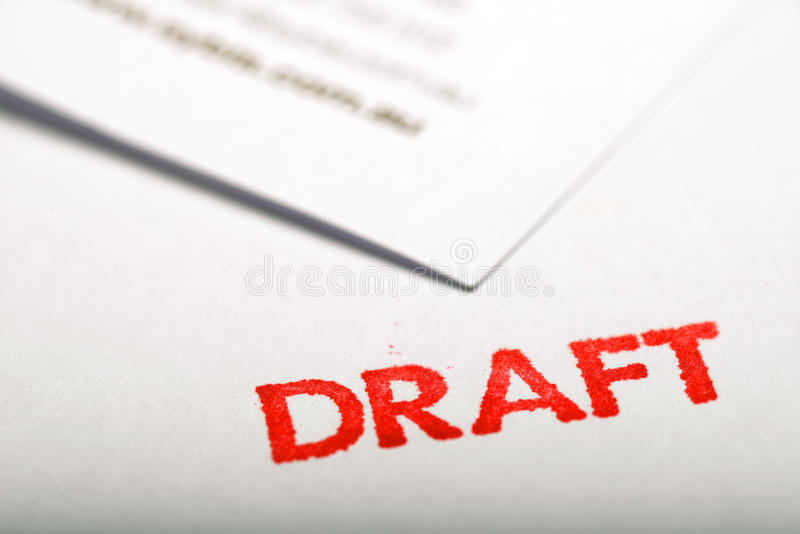 Draft 1. Document and draft stamp for draft communication royalty free stock photos