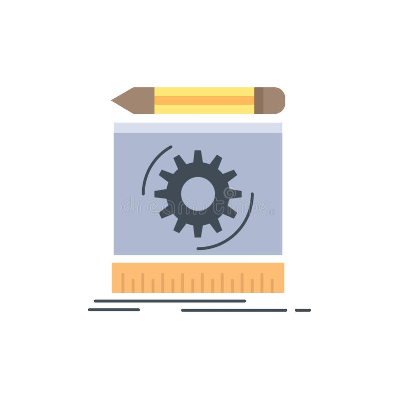 Draft, engineering, process, prototype, prototyping Flat Color Icon Vector stock illustration