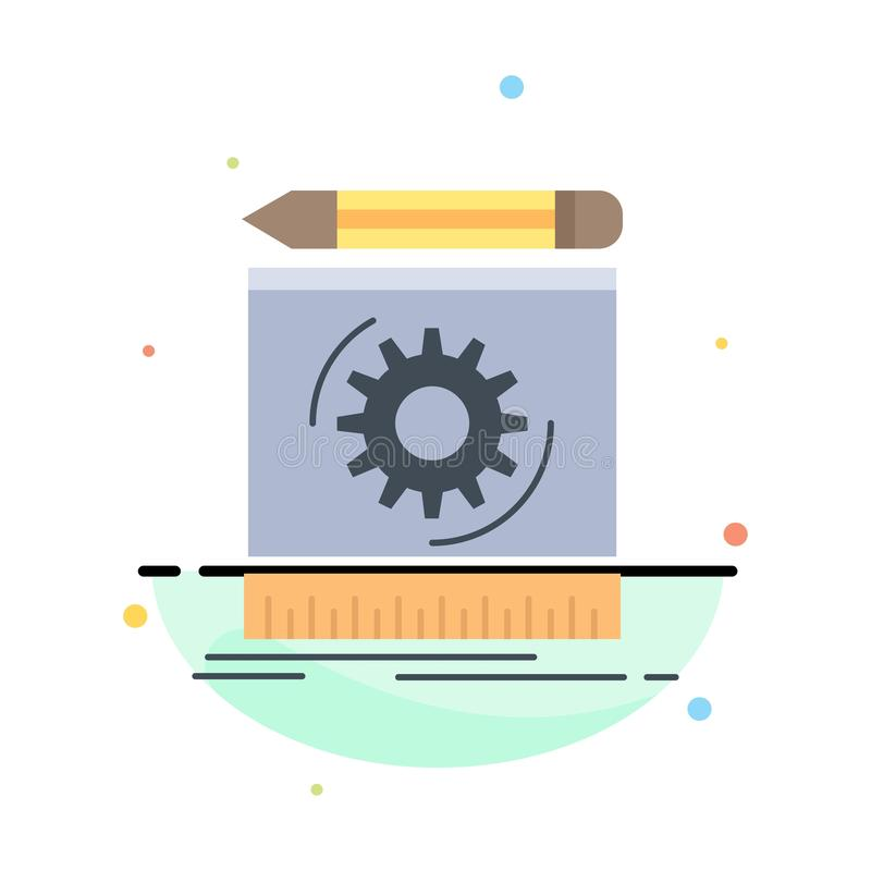 Draft, engineering, process, prototype, prototyping Flat Color Icon Vector vector illustration