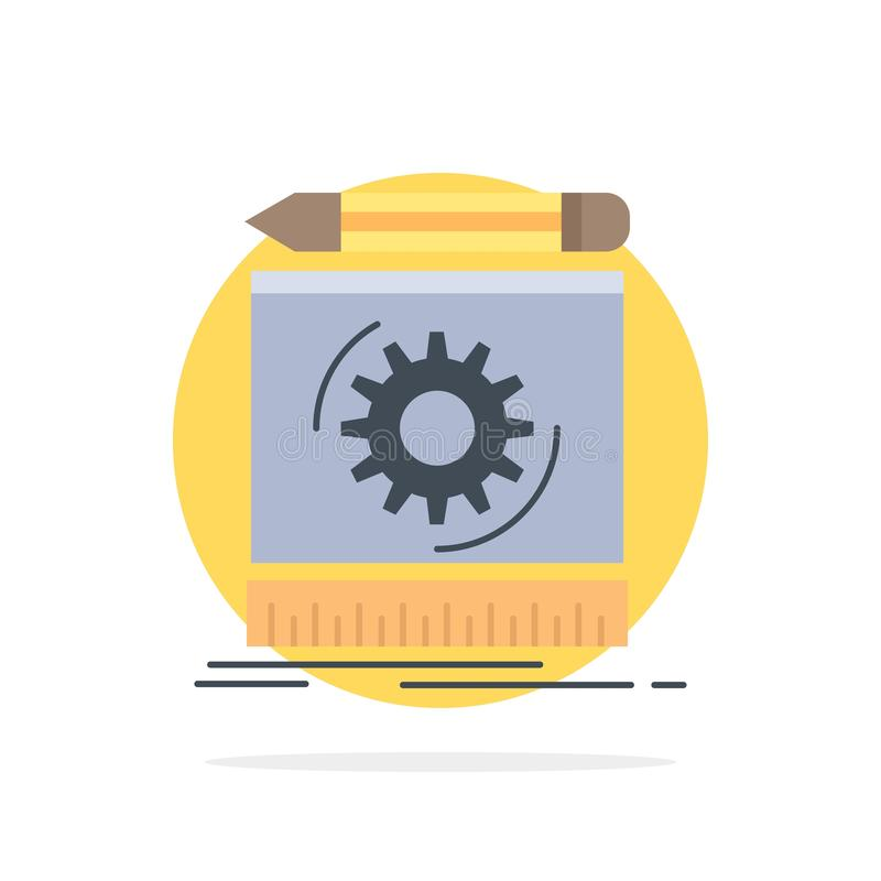 Draft, engineering, process, prototype, prototyping Flat Color Icon Vector royalty free illustration