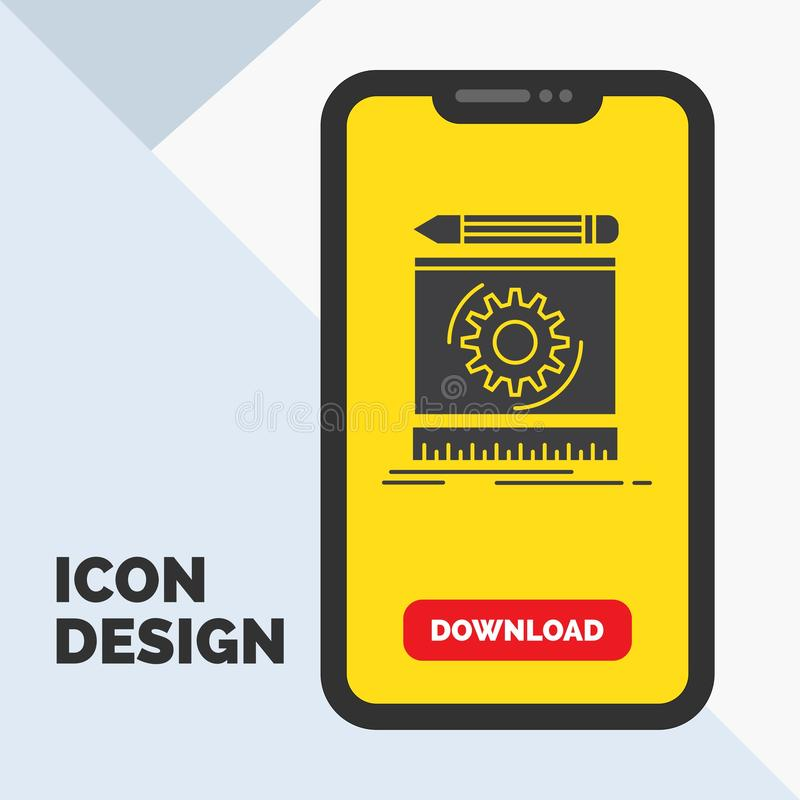 Draft, engineering, process, prototype, prototyping Glyph Icon in Mobile for Download Page. Yellow Background. Vector EPS10 Abstract Template background stock illustration