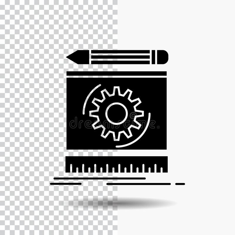 Draft, engineering, process, prototype, prototyping Glyph Icon on Transparent Background. Black Icon. Vector EPS10 Abstract Template background vector illustration