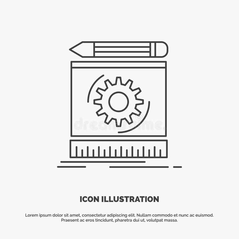Draft, engineering, process, prototype, prototyping Icon. Line vector gray symbol for UI and UX, website or mobile application. Vector EPS10 Abstract Template stock illustration