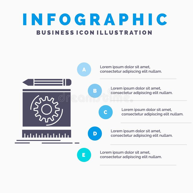 Draft, engineering, process, prototype, prototyping Infographics Template for Website and Presentation. GLyph Gray icon with Blue. Infographic style vector royalty free illustration