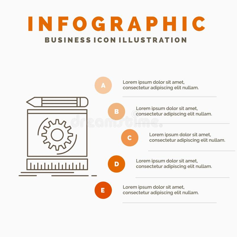 Draft, engineering, process, prototype, prototyping Infographics Template for Website and Presentation. Line Gray icon with Orange. Infographic style vector stock illustration