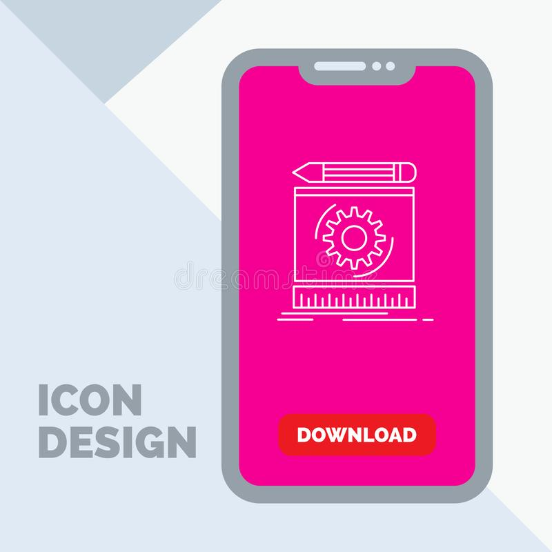 Draft, engineering, process, prototype, prototyping Line Icon in Mobile for Download Page. Vector EPS10 Abstract Template background stock illustration