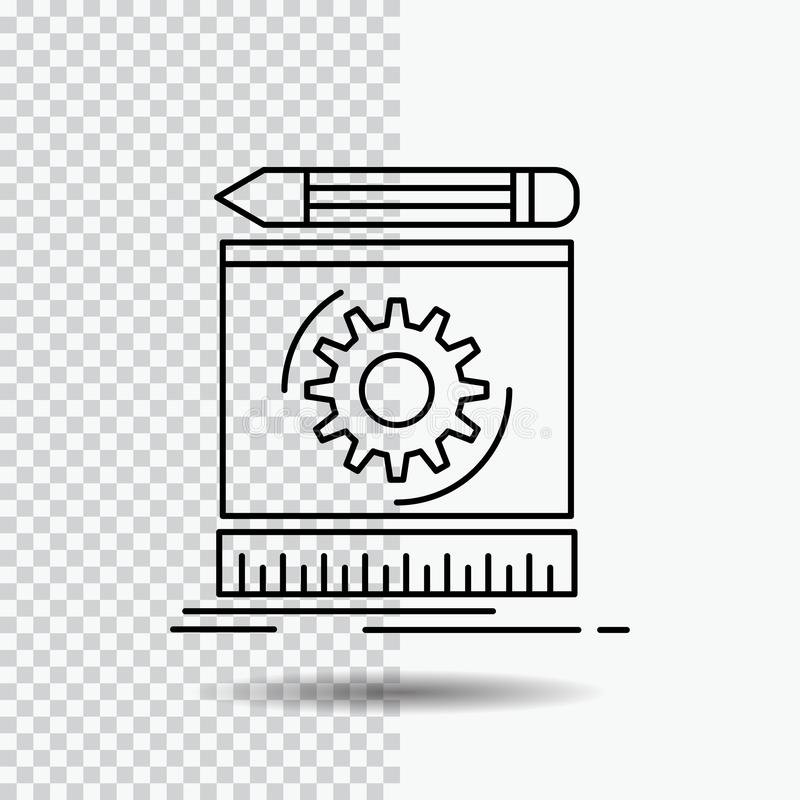 Draft, engineering, process, prototype, prototyping Line Icon on Transparent Background. Black Icon Vector Illustration. Vector EPS10 Abstract Template royalty free illustration