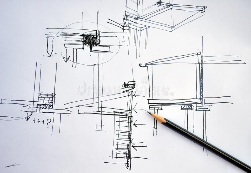 Draft hand drawing architecture plan with pencil. Draft hand drawing foundation architecture plan with black pencil royalty free stock photos