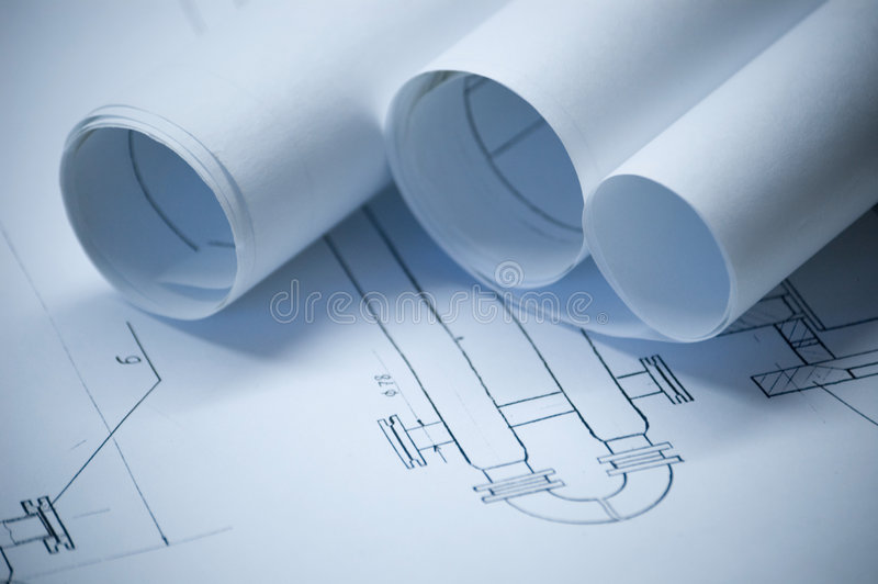 Draft paper rolls. Design draft papers and draft paper rolls royalty free stock photos