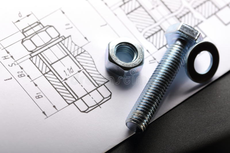 Drafting and bolt. With nut royalty free stock image