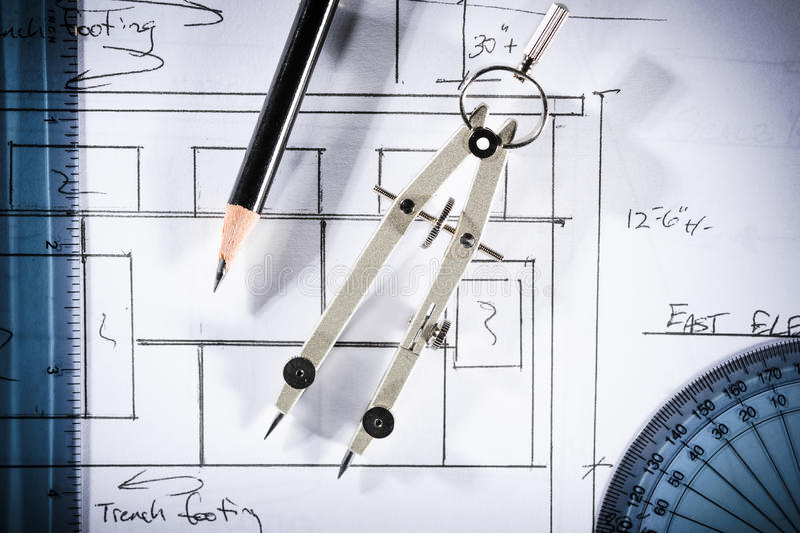 Drafting tools stock photos