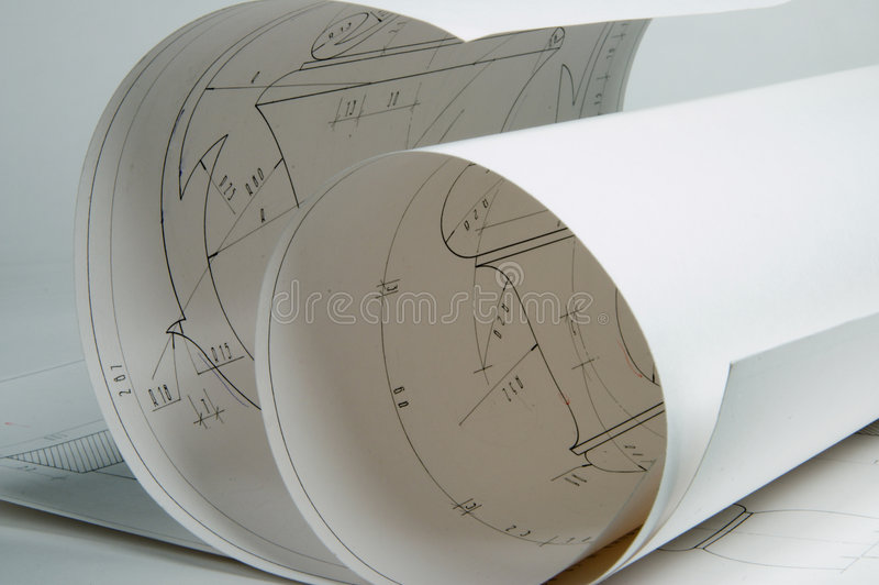 Drafts. Some drafts of architectural elements, drawing on a paper royalty free stock images