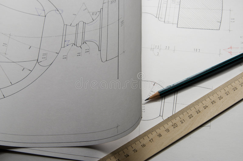Drafts. Some drafts of architectural elements and tools of the designer stock photos
