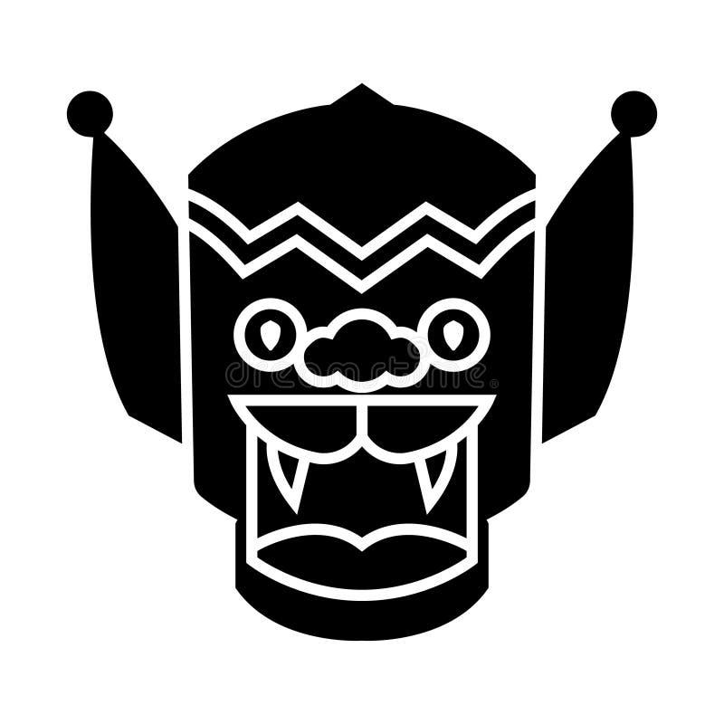 Dragão - ícone da porcelana, ilustração do vetor, sinal preto no fundo isolado ilustração stock