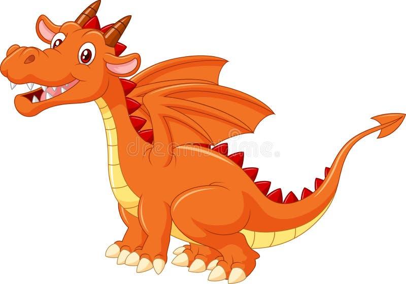Dragão alaranjado bonito dos desenhos animados isolado no fundo branco ilustração royalty free