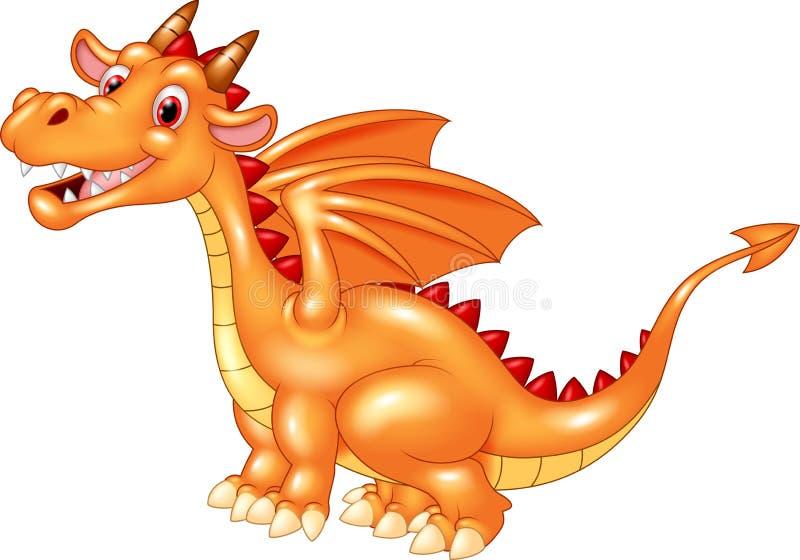 Dragão alaranjado bonito dos desenhos animados isolado no fundo branco ilustração stock