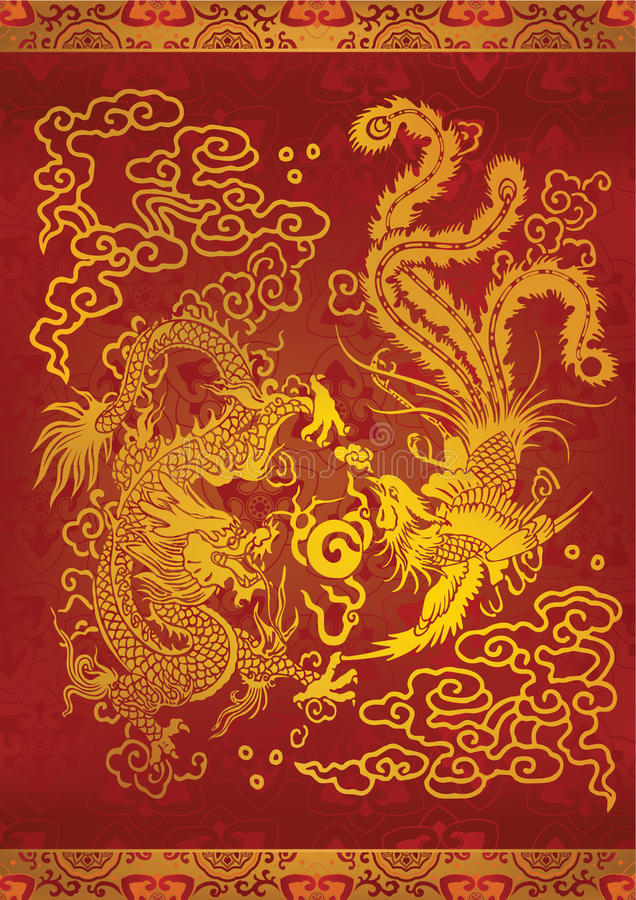 Dragão & Phoenix ilustração royalty free