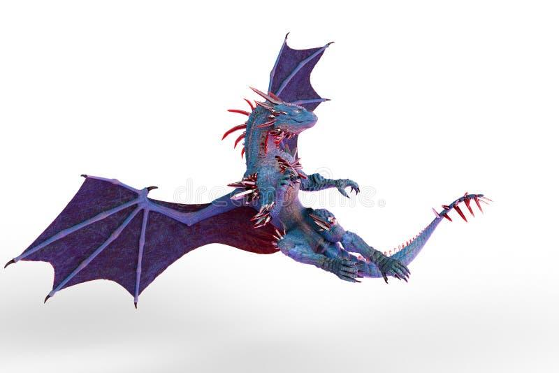 Dragão azul vermelho de Cristal em um fundo branco ilustração stock