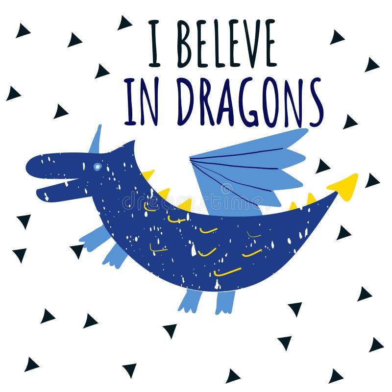 Dragão bonito com texto que eu acredito nos dragões ilustração do vetor