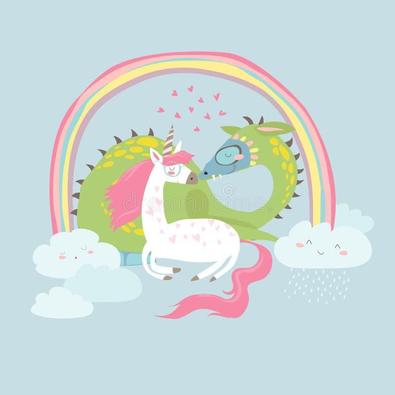 Dragão bonito dos desenhos animados com unicórnio ilustração royalty free