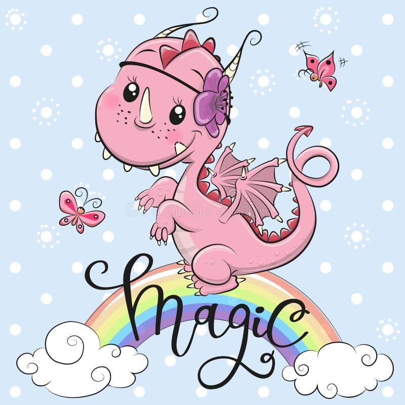 Dragão bonito dos desenhos animados em um fundo azul ilustração do vetor