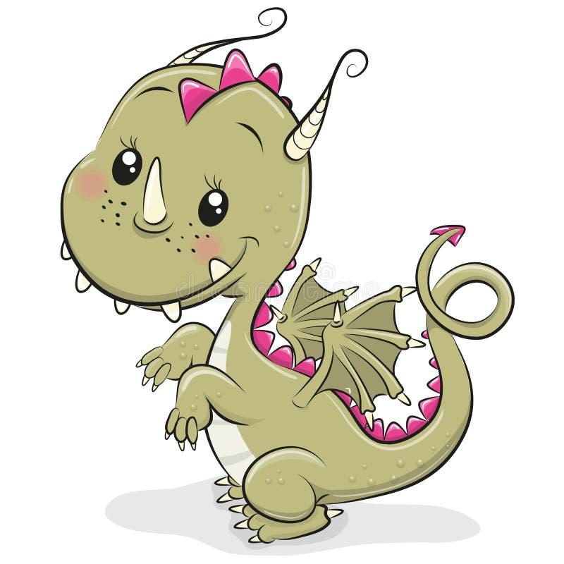 Dragão bonito dos desenhos animados em um fundo branco ilustração stock
