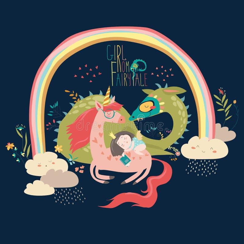 Dragão bonito dos desenhos animados, unicórnio e princesa pequena ilustração do vetor