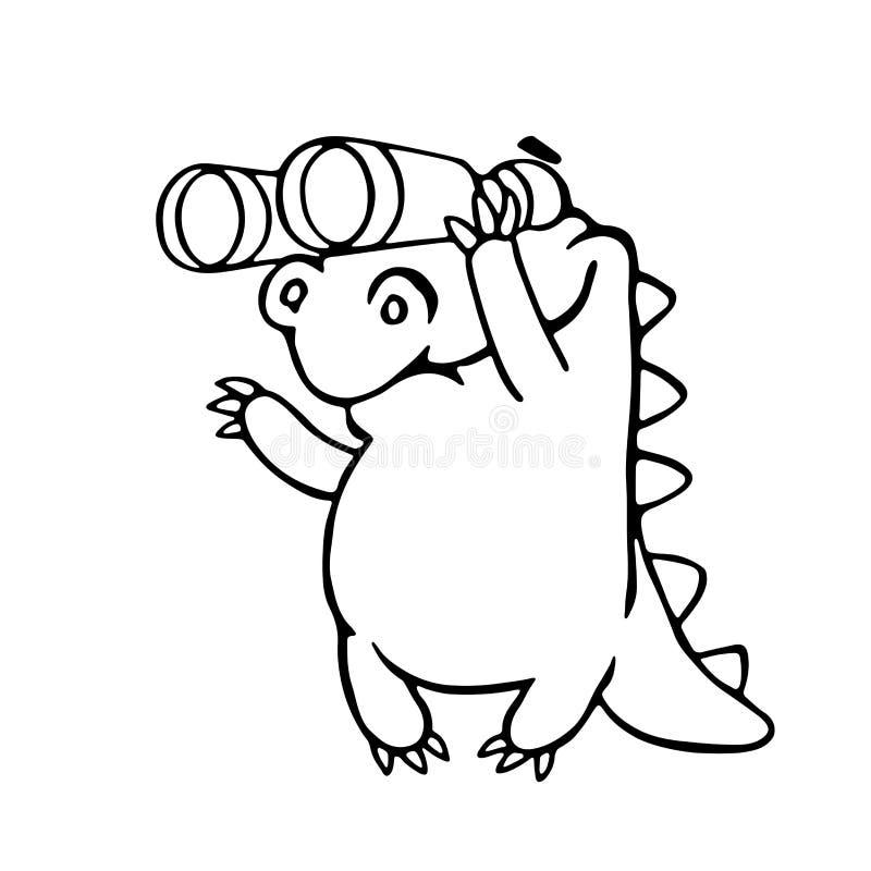 Dragão bonito que olha através dos binóculos Ilustração do vetor ilustração stock