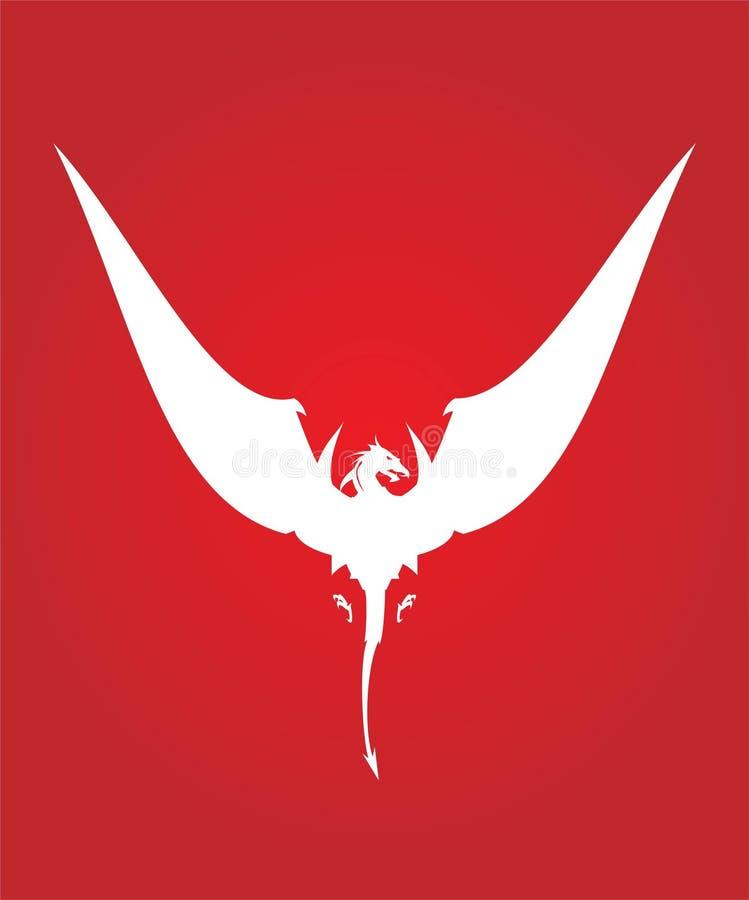 Dragão, dragão branco da grande asa ilustração do vetor