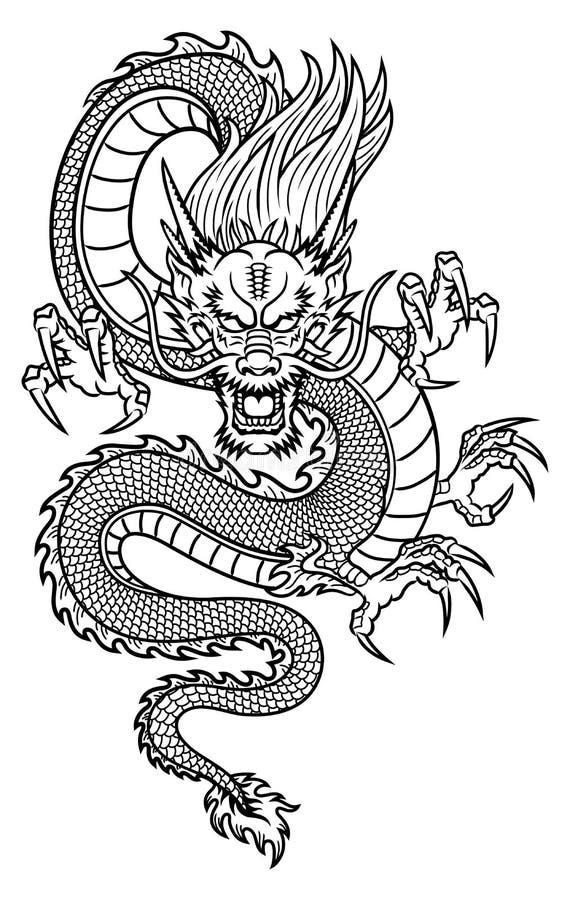 Dragão chinês ilustração do vetor