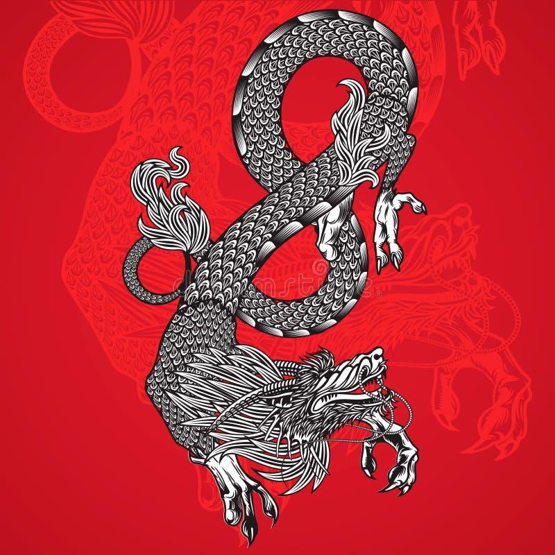 Dragão chinês antigo e fundo vermelho ilustração do vetor