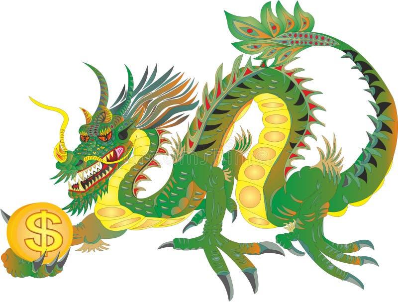 Dragão chinês com dólar americano ilustração royalty free