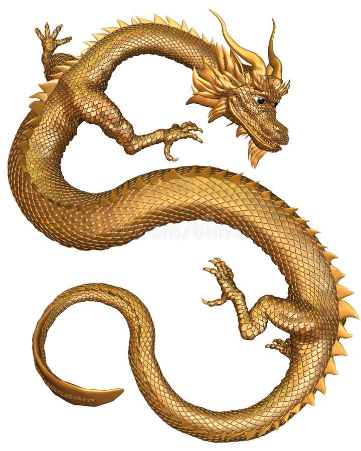 Dragão chinês do ouro ilustração stock