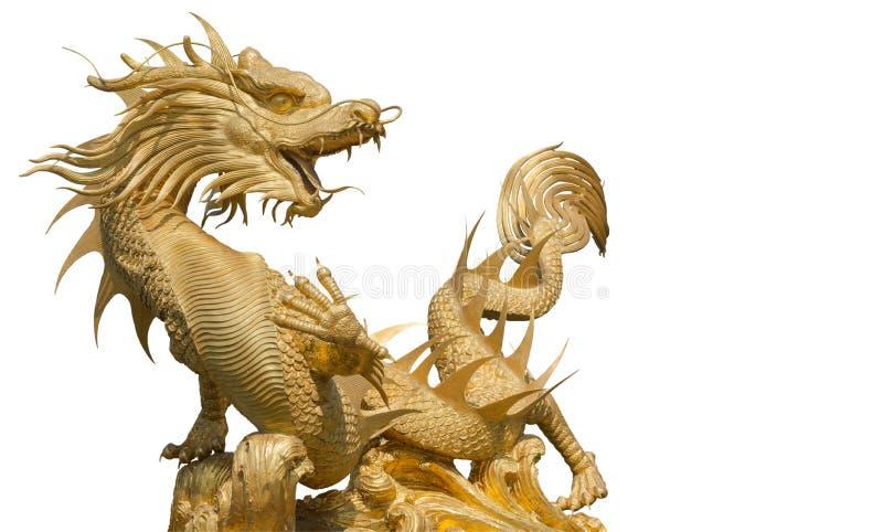 Dragão chinês dourado gigante foto de stock