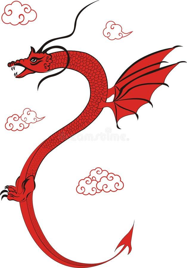 Dragão chinês vermelho ilustração do vetor