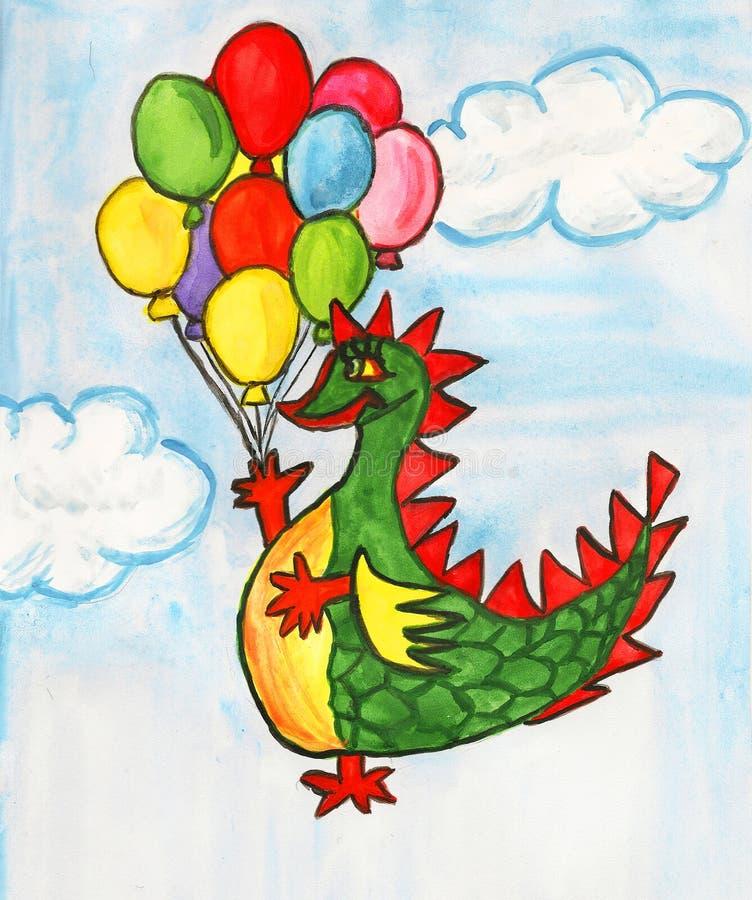 Dragão com balões de ar ilustração royalty free