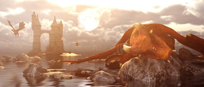 dragão da fantasia 3d que descansa na rocha quando ele maré baixa ilustração do vetor